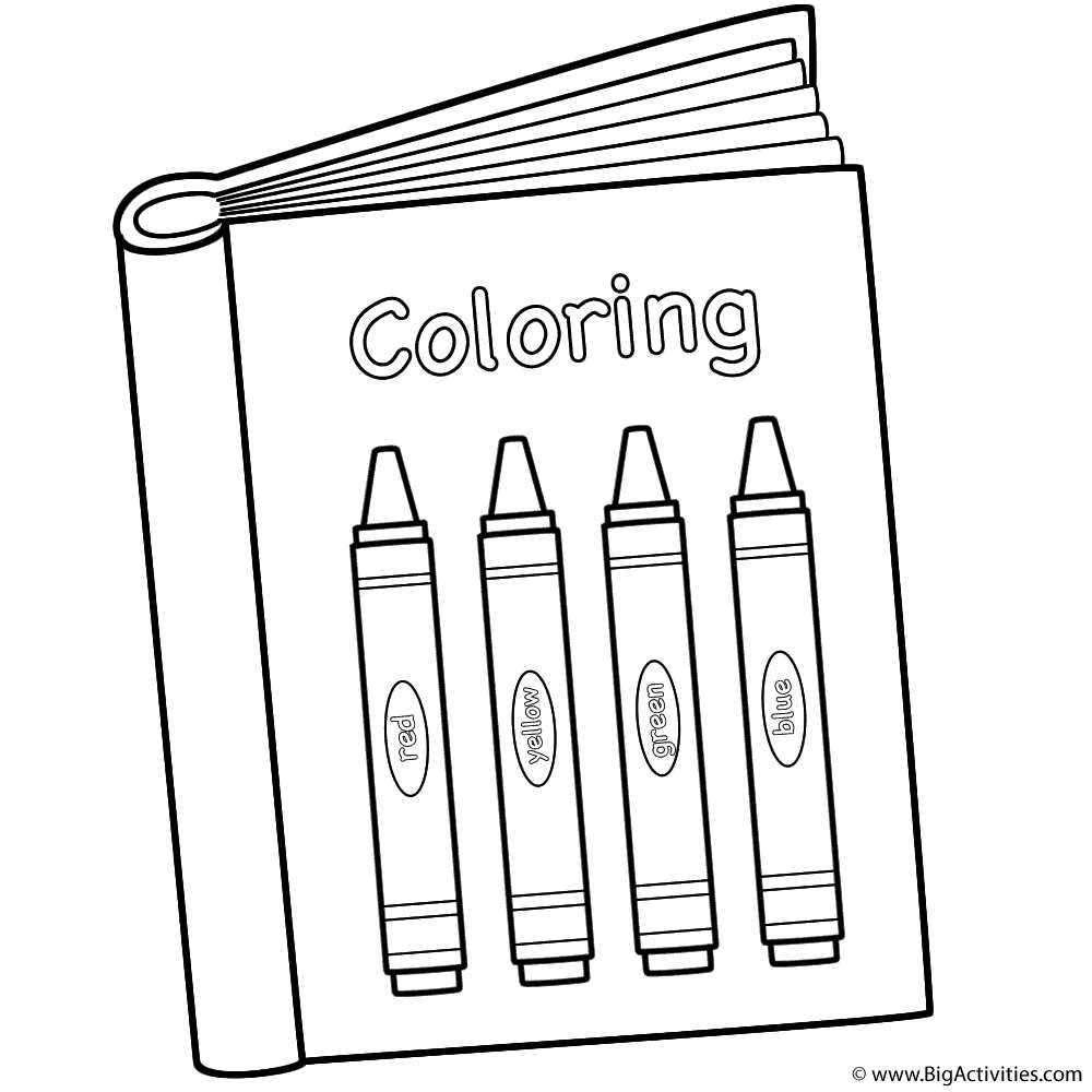 Coloring Book with Crayons Coloring Page (100th Day of School)