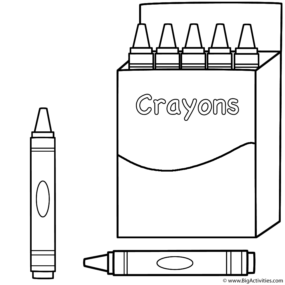 Box of Crayons and Two Crayons - Coloring Page (100th Day of School)