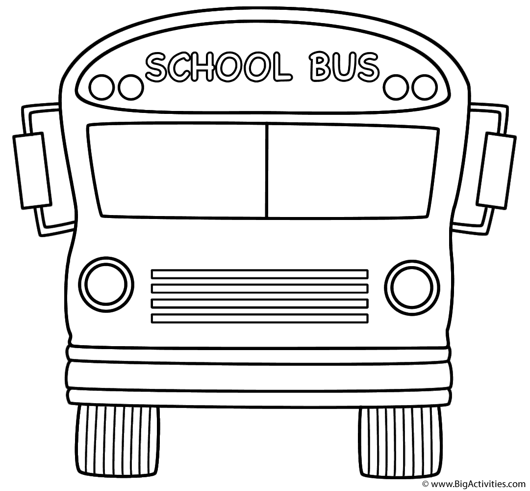 School Bus (Front) - Coloring Page (100th Day of School)