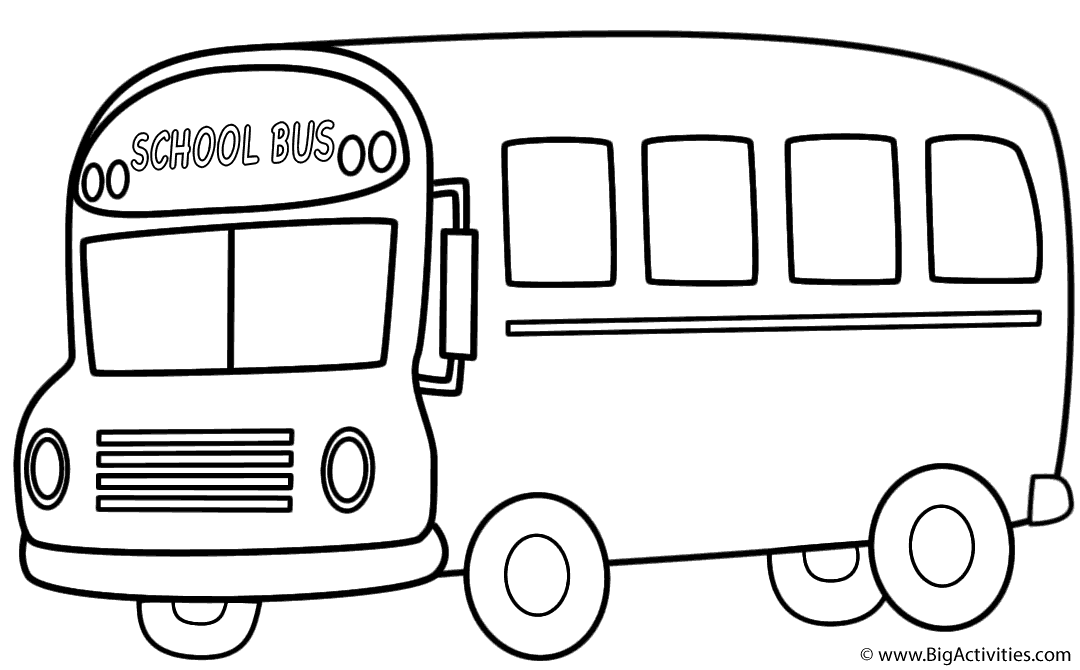 School Bus (Side) with Theme - Coloring Page (100th Day of ...