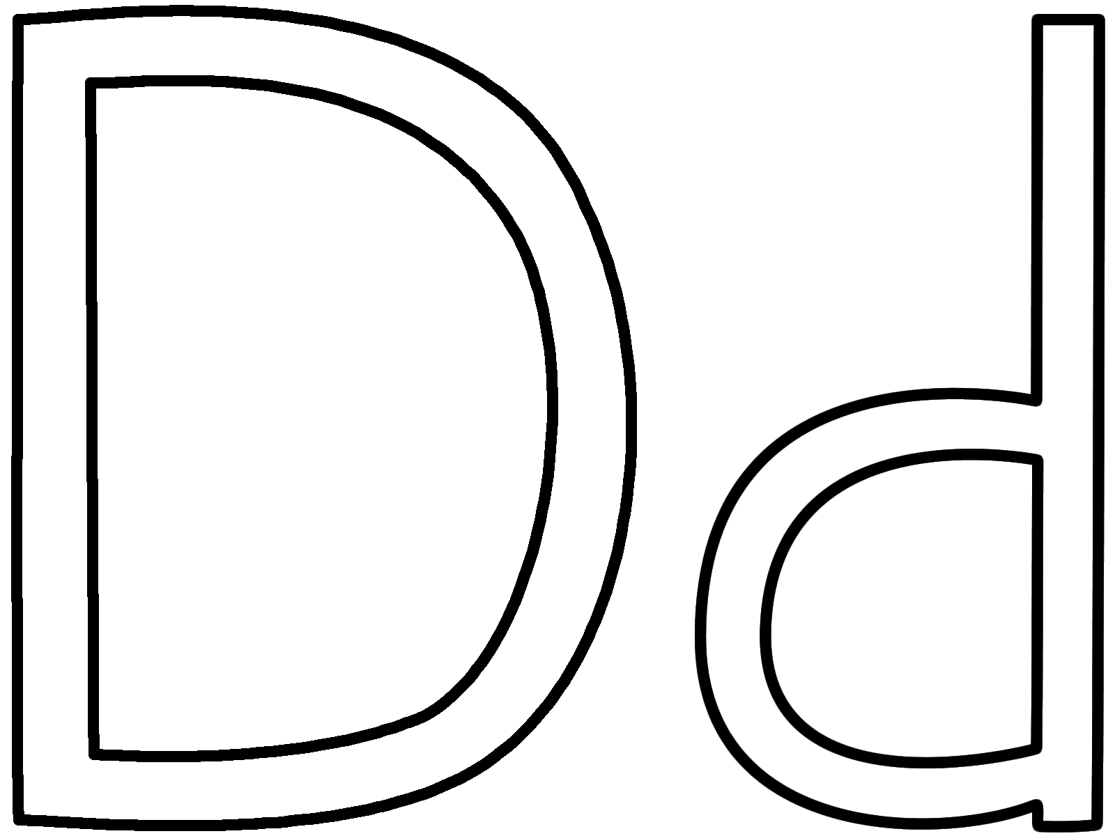 letter d coloring page alphabet - Big And Small Coloring Pages