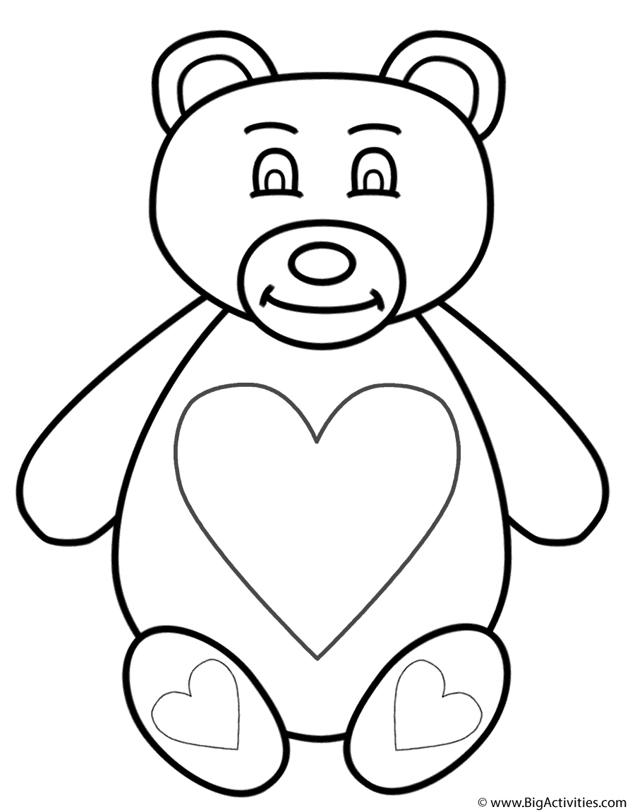 teddy bear with hearts coloring page animals