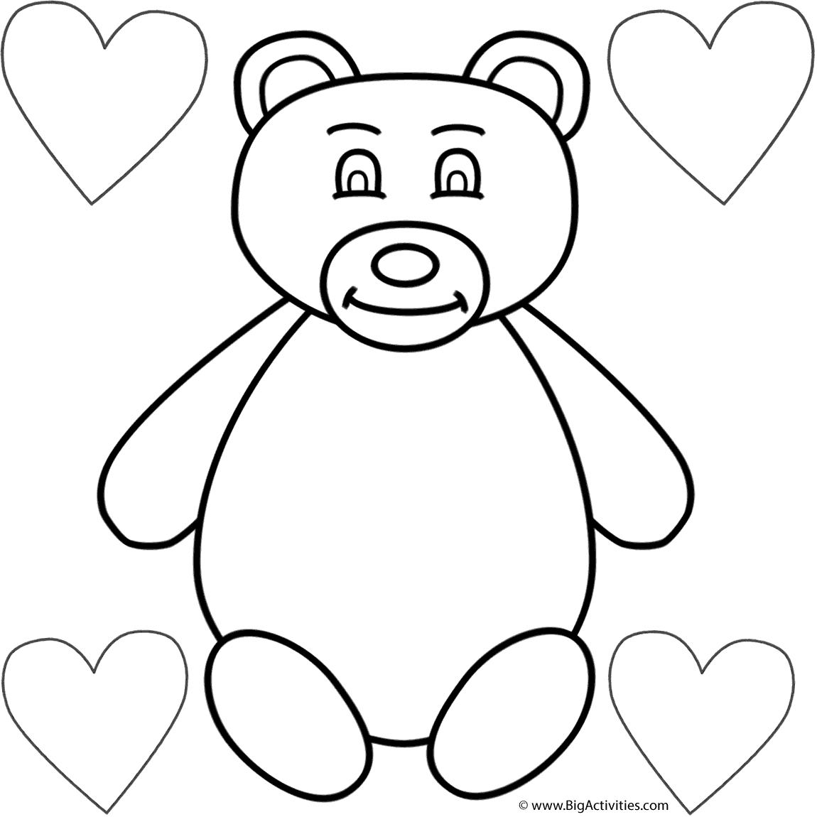 coloring pages teddy bear heart | Teddy Bear with Hearts Around - Coloring Page (Animals)