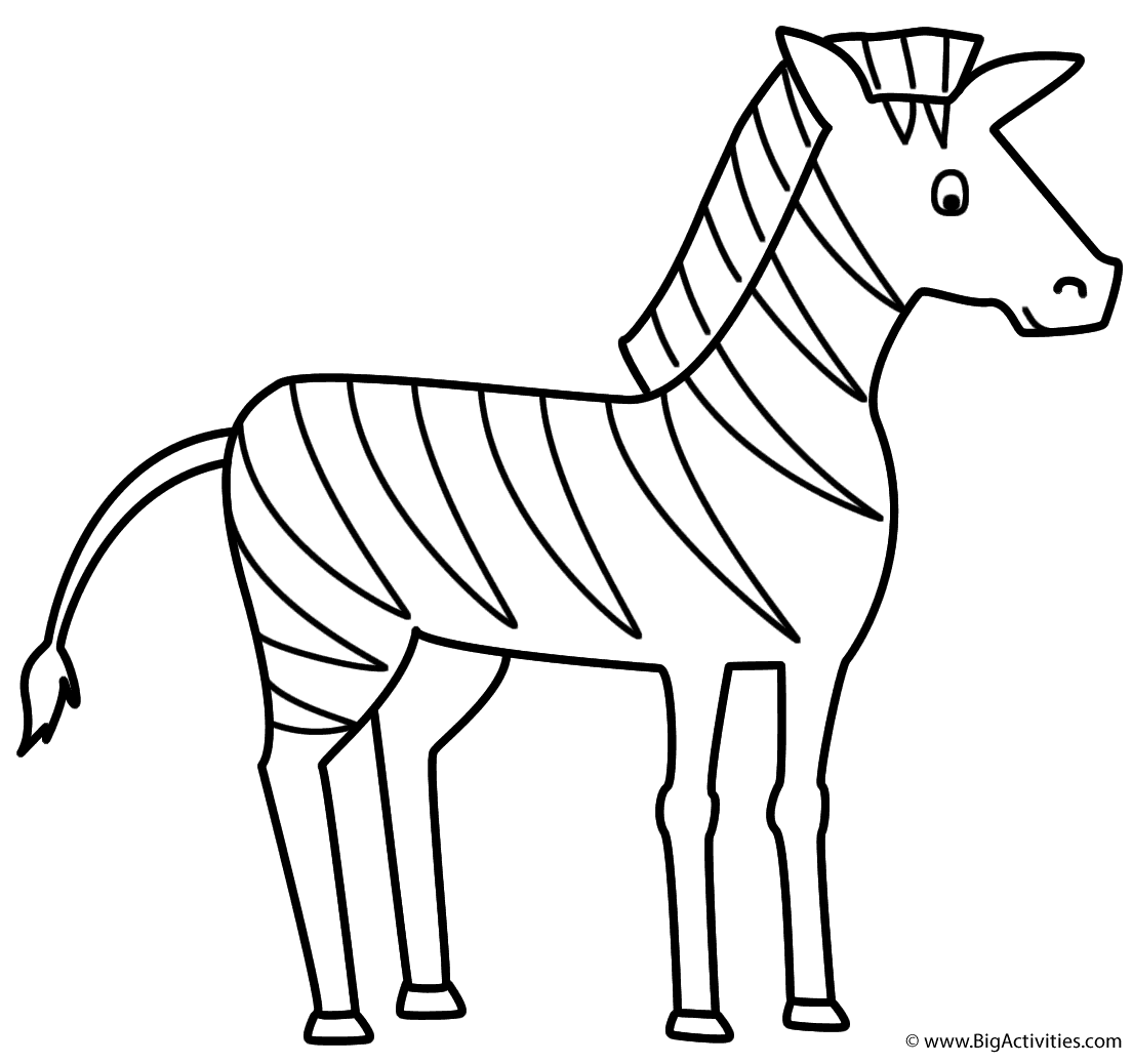 Zebra - Coloring Page (Animals)