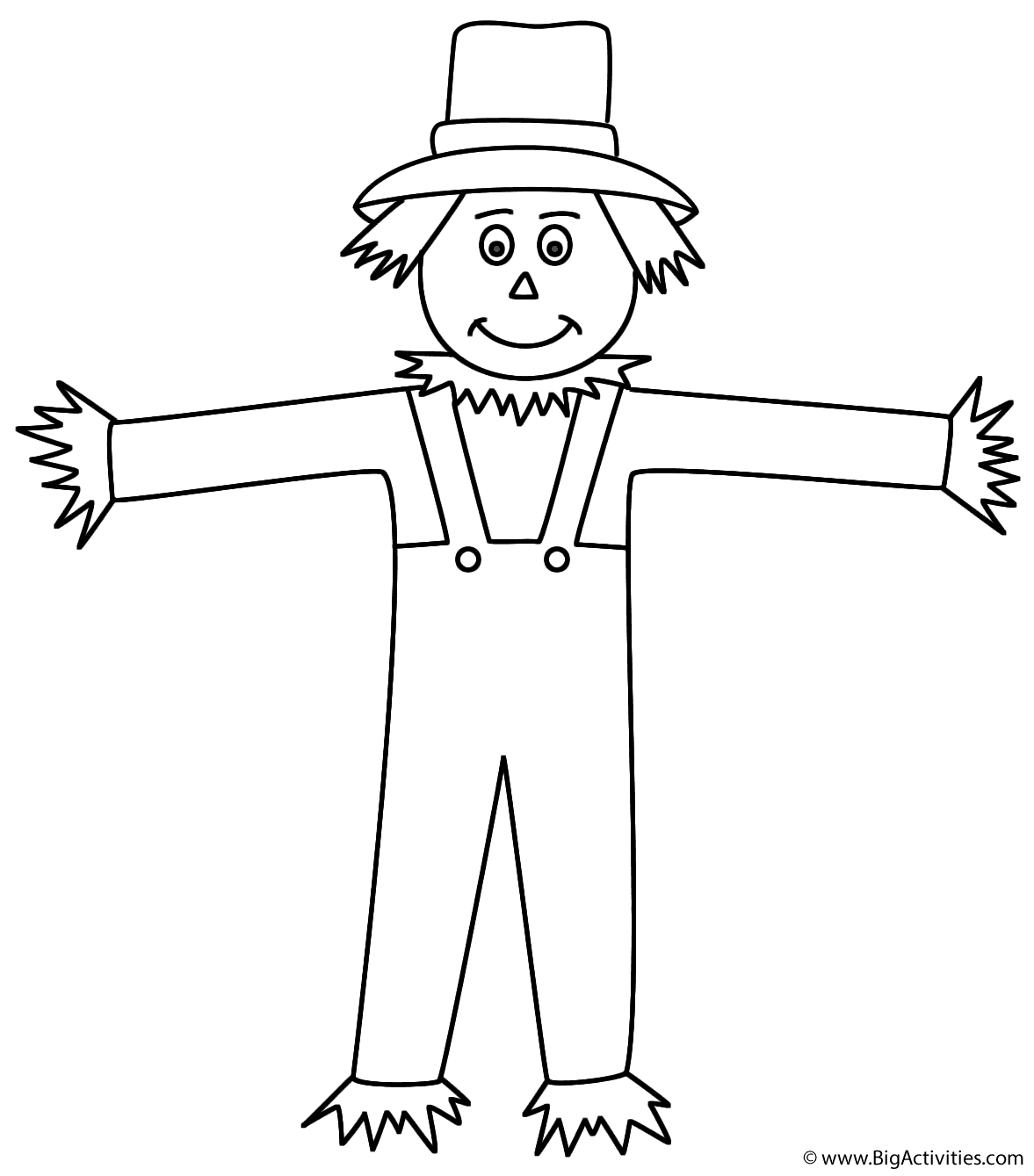 scarecrow coloring page autumn fall