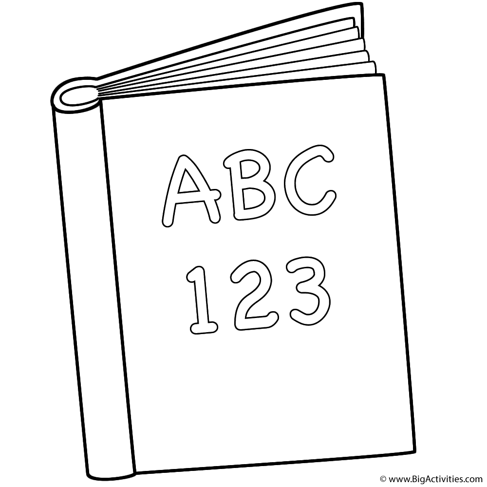 abc and 123 book coloring page back to school - Book Coloring Page