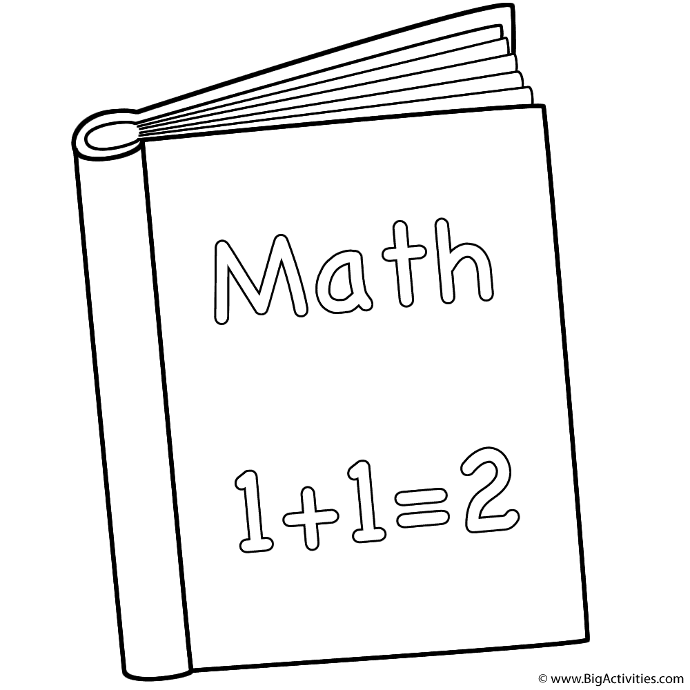 Math Book - Coloring Page (Back to School)