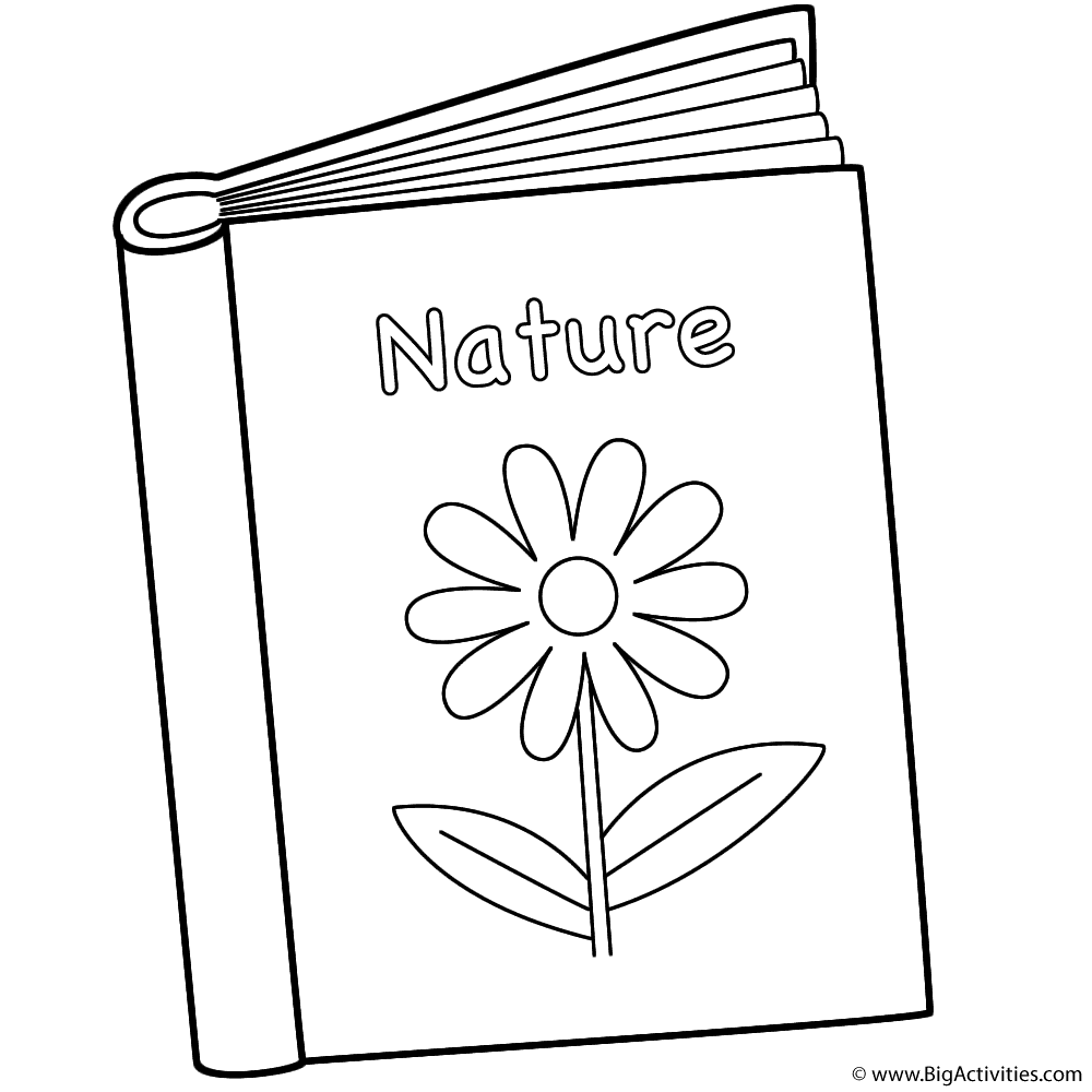 nature book coloring page back to school - Book Coloring Page