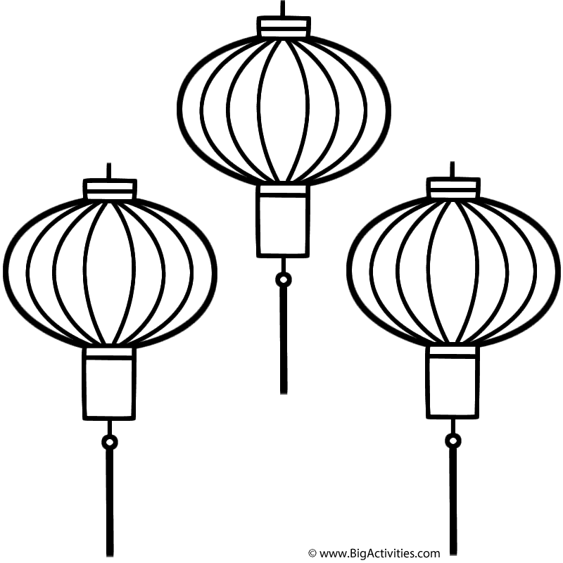 Chinese lanterns coloring page chinese new year for Chinese lantern template printables