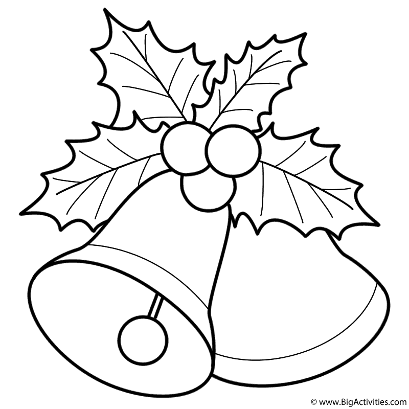 Bells with Mistletoe Coloring Page Christmas