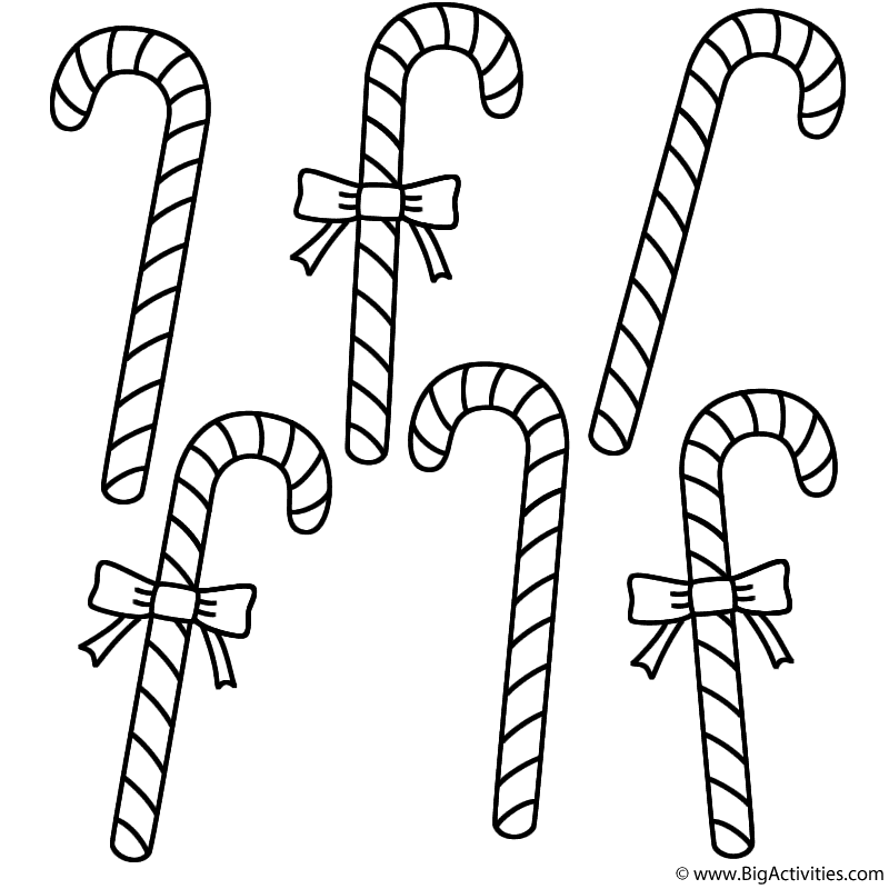 Six Candy Canes Coloring Page Christmas