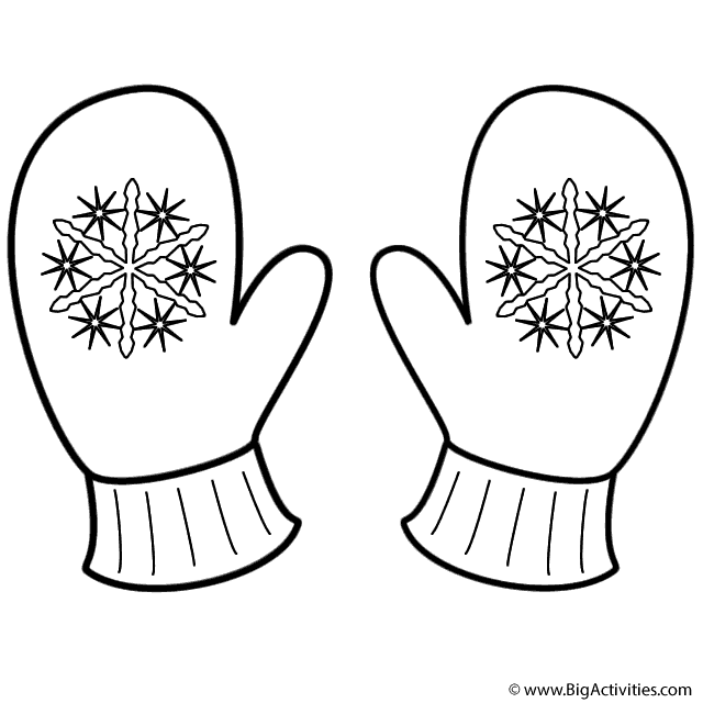 Mittens With Snowflakes Coloring Page Christmas