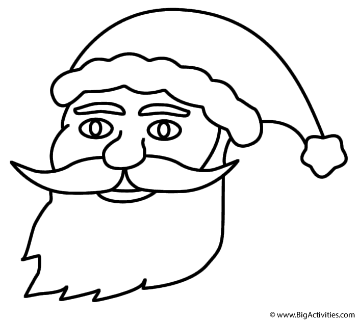 santa claus face coloring page christmas