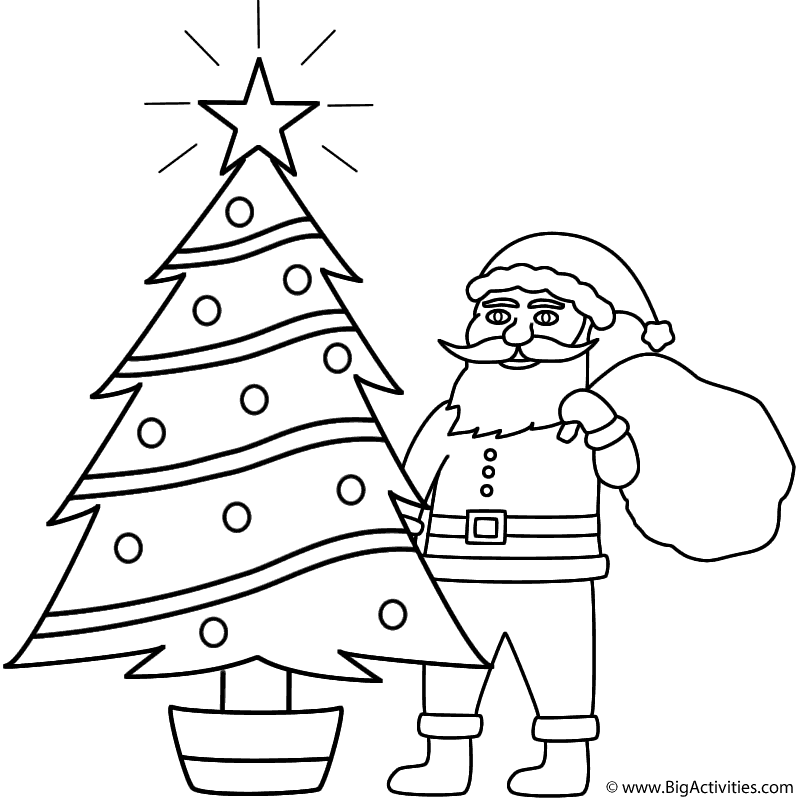 santa claus behind christmas tree coloring page christmas