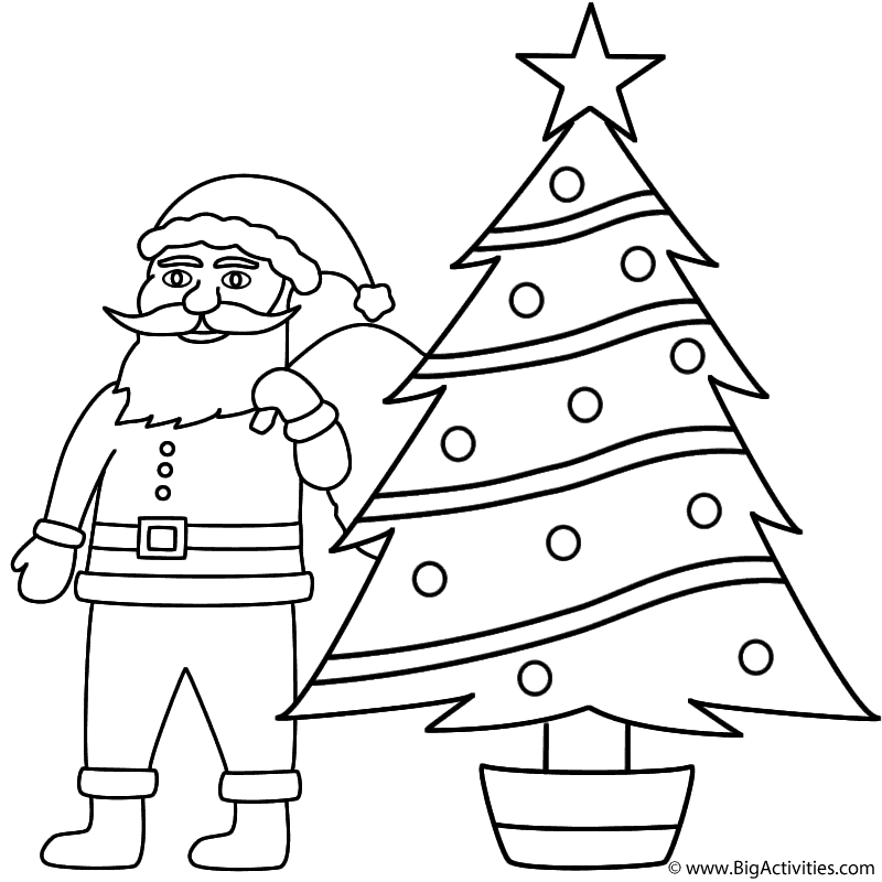 santa claus with christmas tree coloring page christmas