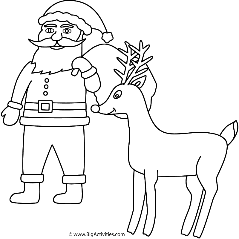 Santa Claus with Rudolph - Coloring Page (Christmas)