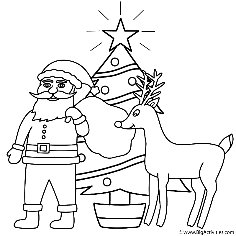 Santa Claus with Rudolph and Christmas Tree - Coloring Page (Christmas)