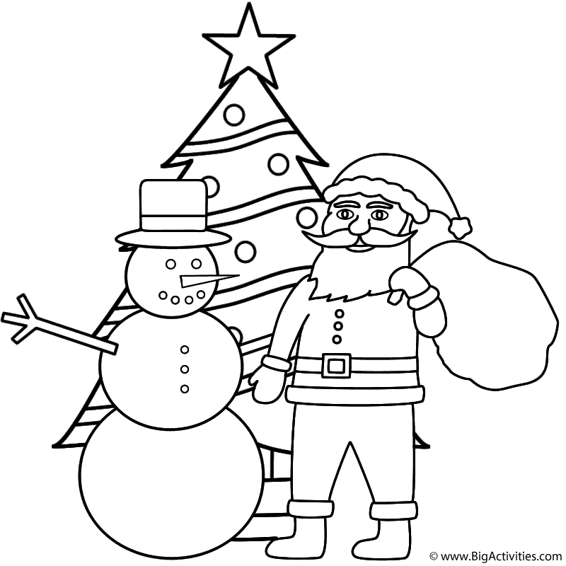 snowman with santa and christmas tree coloring page christmas