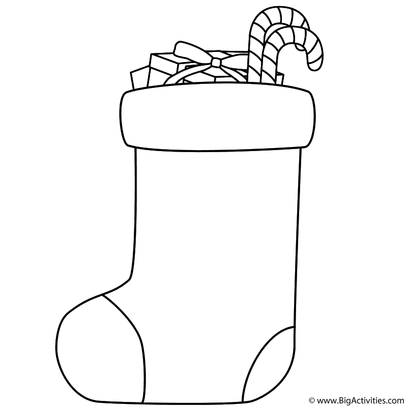 Large Christmas Stocking Coloring Pages christmas stocking