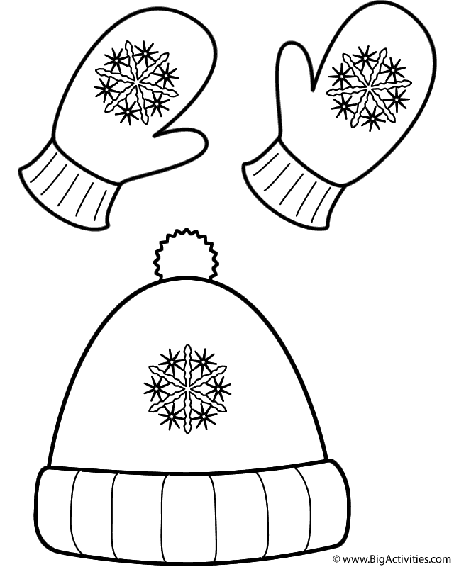 Winter Hat and Mittens Coloring