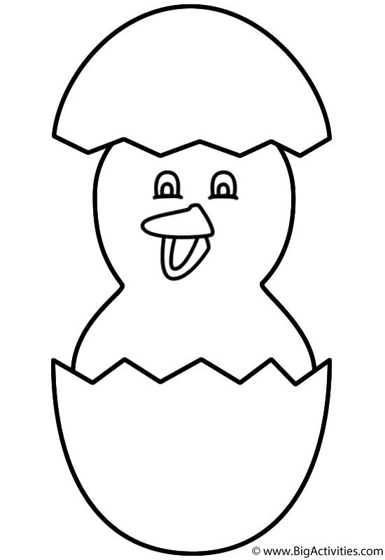 Baby Chick Hatching with Shell Coloring Page Easter