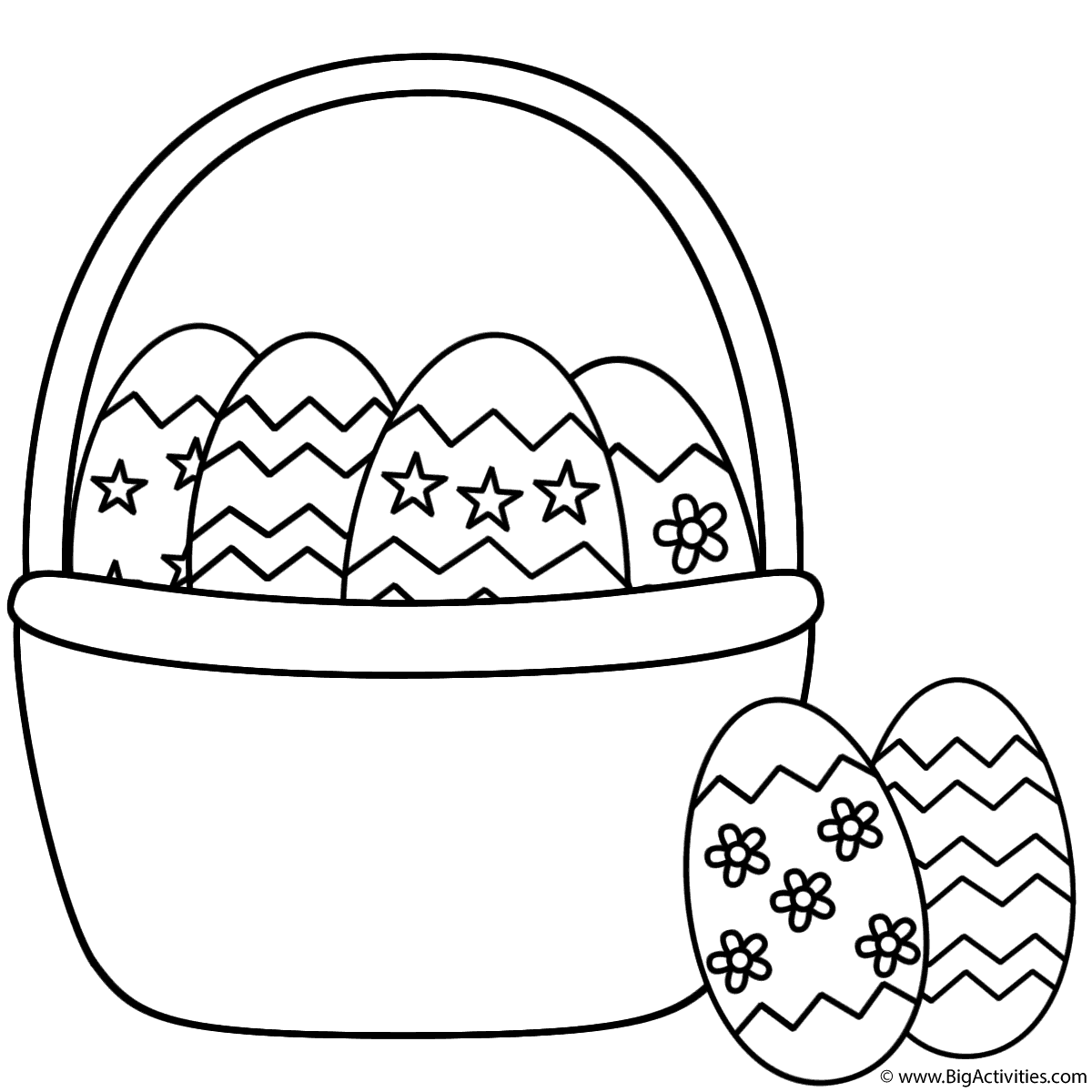 easter basket with easter eggs and two eggs coloring page easter - Coloring Pages Easter Baskets