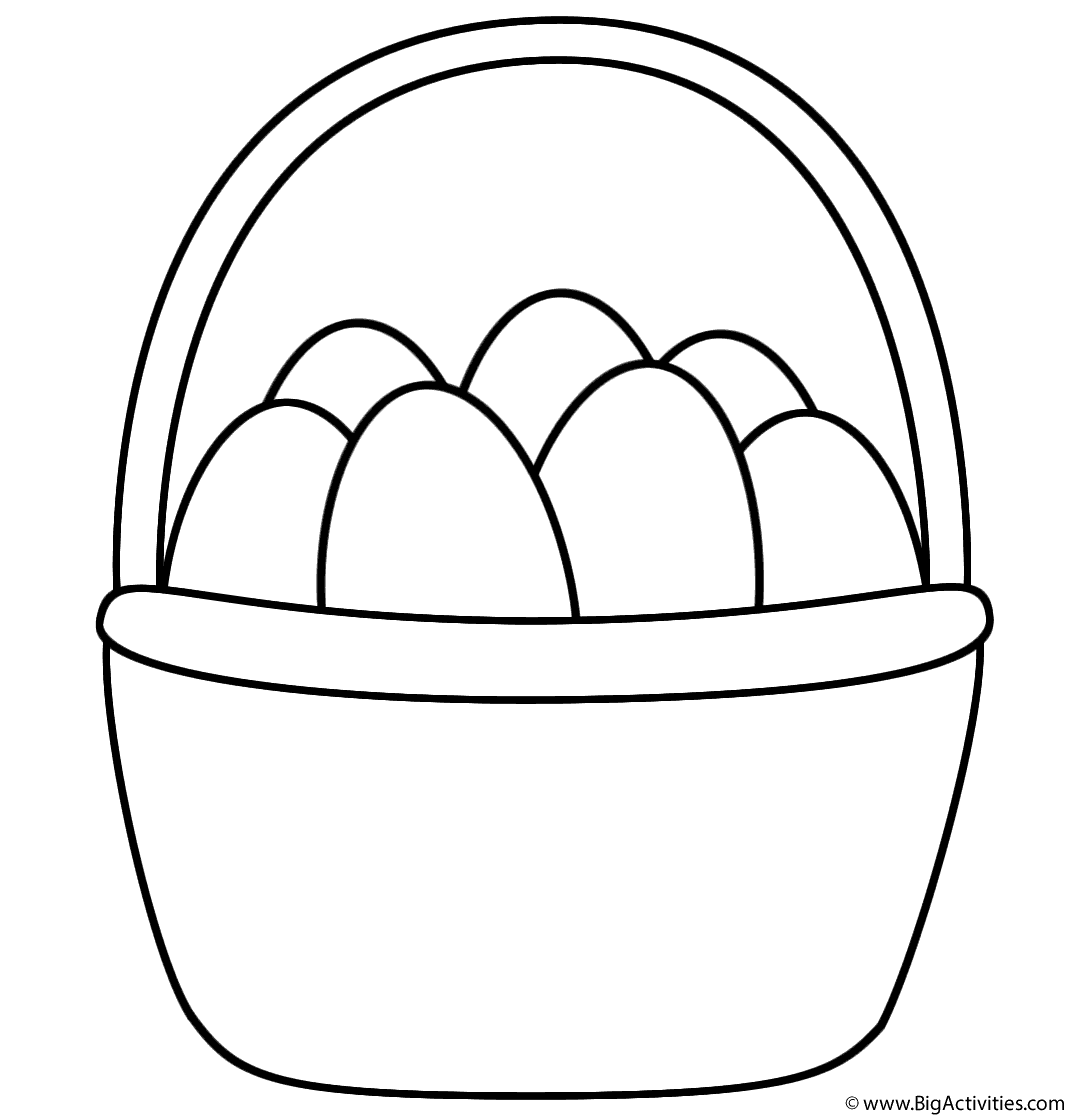 easter basket with eggs coloring page easter - Coloring Pages Easter Baskets