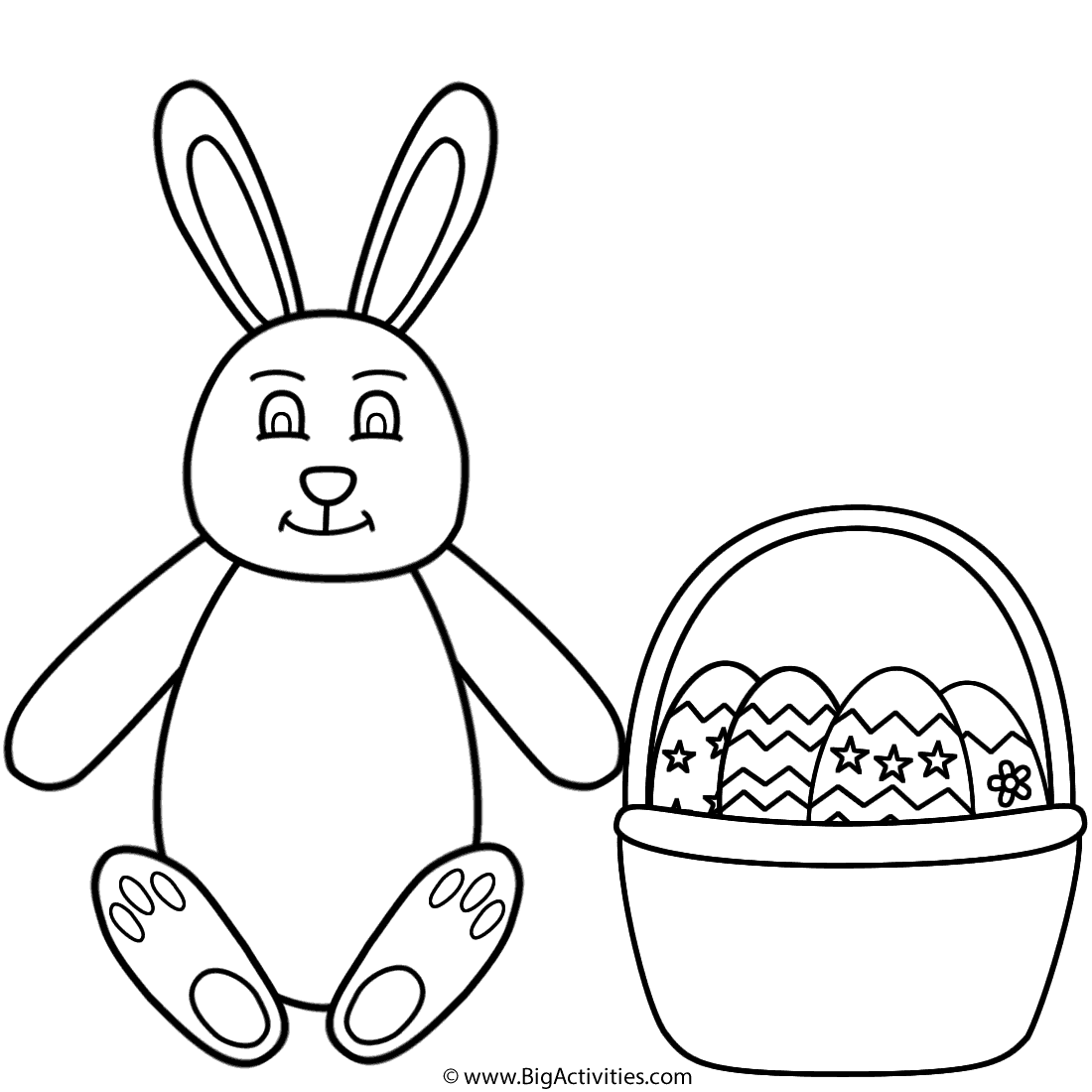 easter bunny sitting and basket of easter eggs coloring page