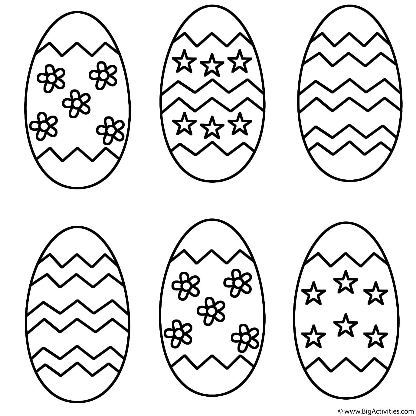 Six Easter Eggs - Coloring Page (Easter)