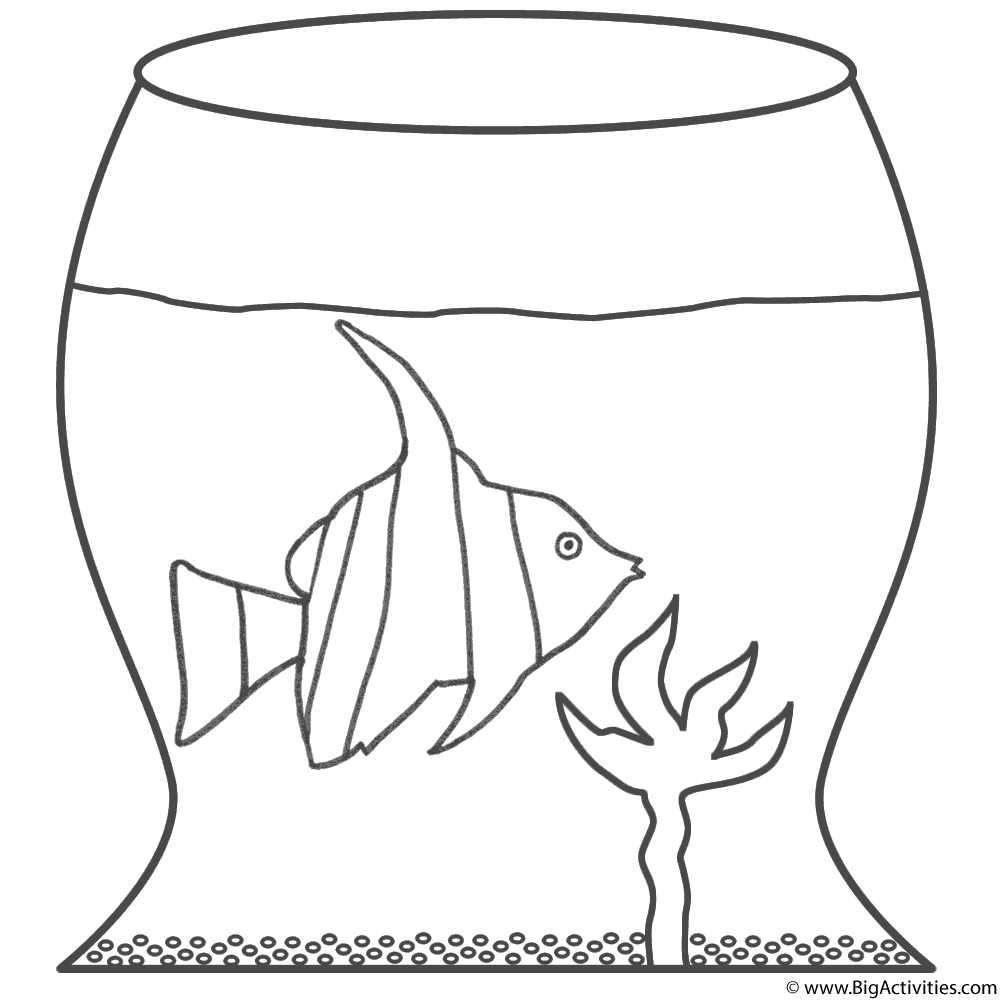 Angel Fish in Fish Bowl - Coloring Page (Fish)
