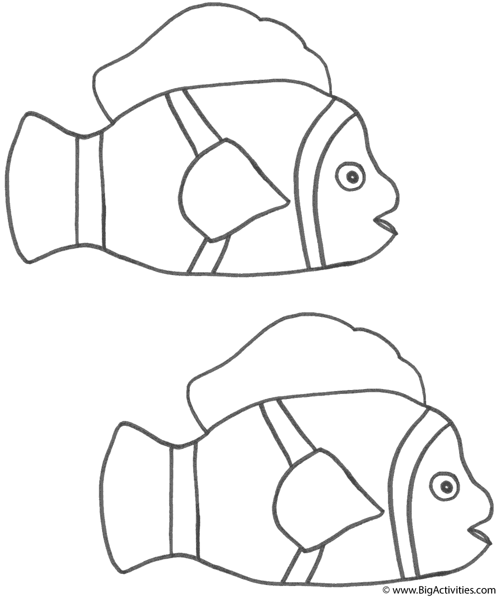 Two Clown Fish Coloring Page Fish Clown Fish Coloring Pages