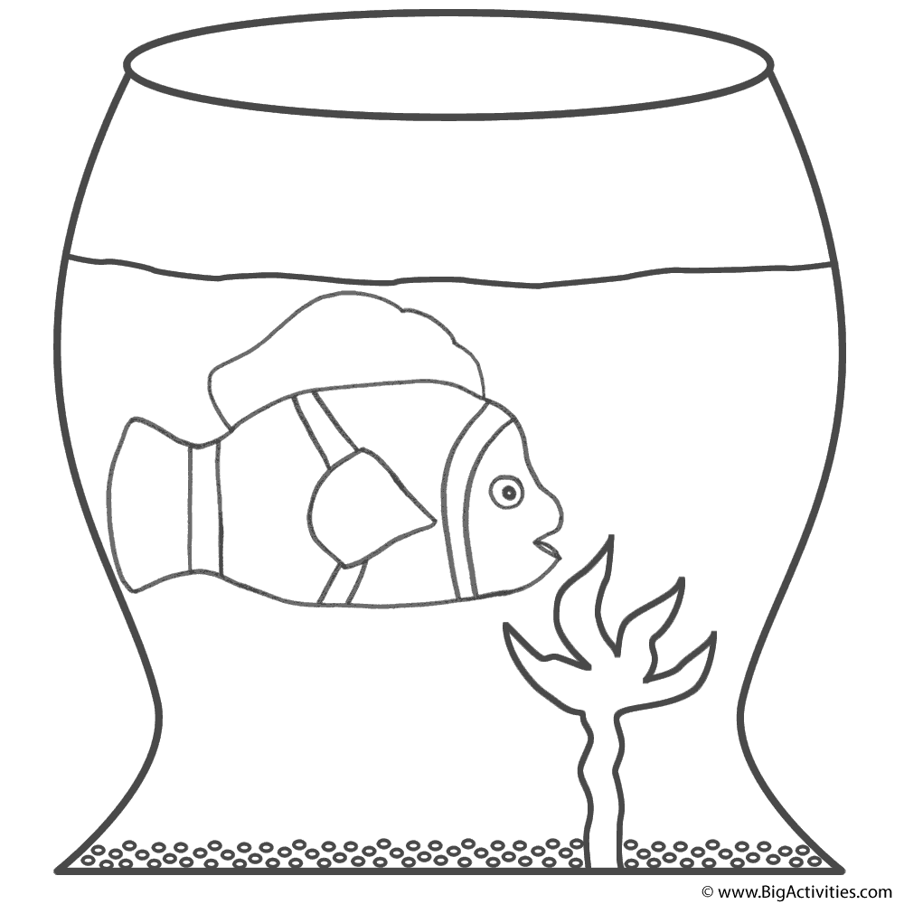 Clown Fish In Fish Bowl Coloring Page Fish Clown Fish Coloring Pages