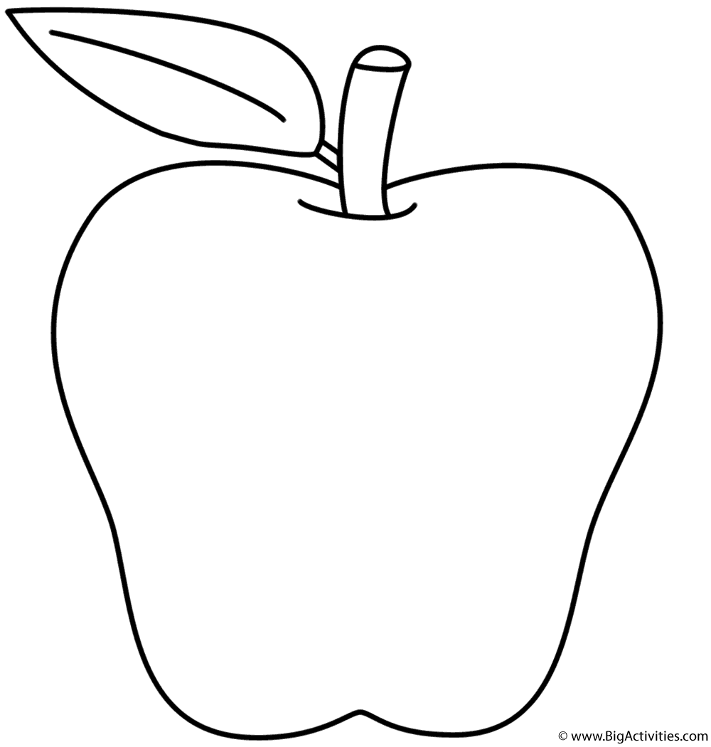 apple coloring page fruits and vegetables