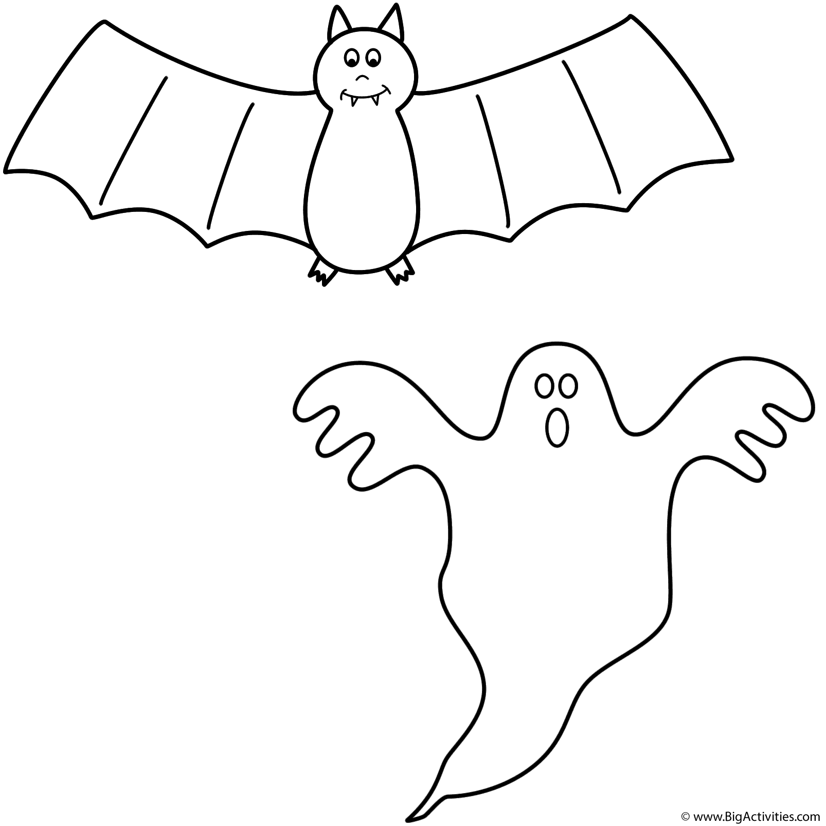 Bat with ghost Coloring Page Halloween