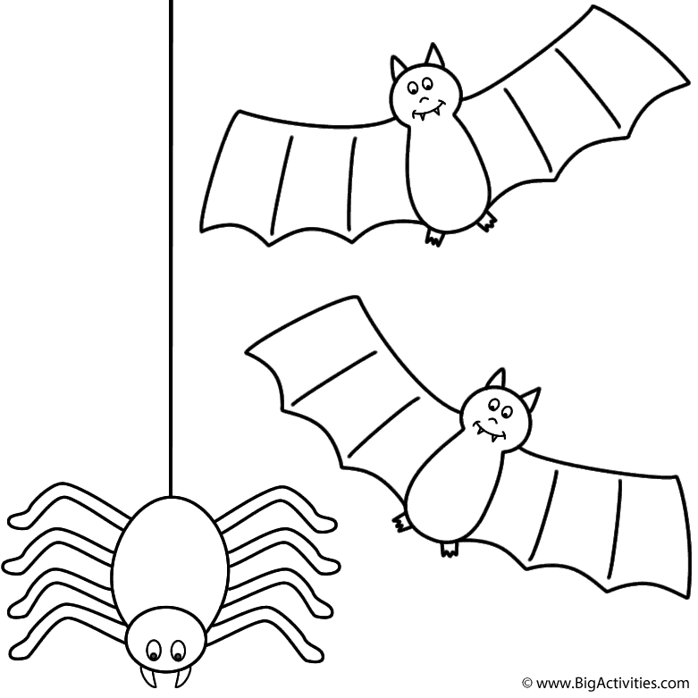 Bats with spider Coloring Page