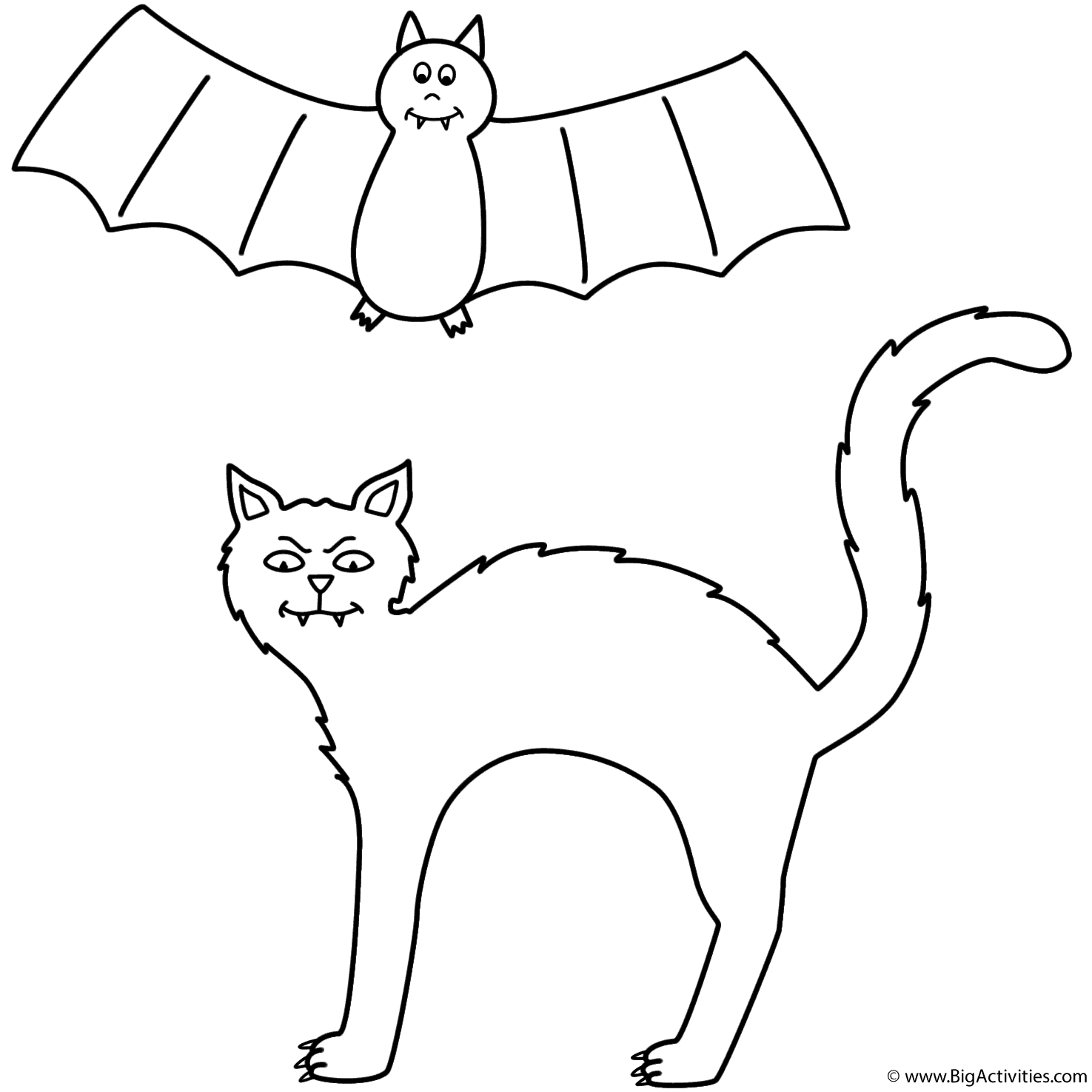 Black cat with bat Coloring Page