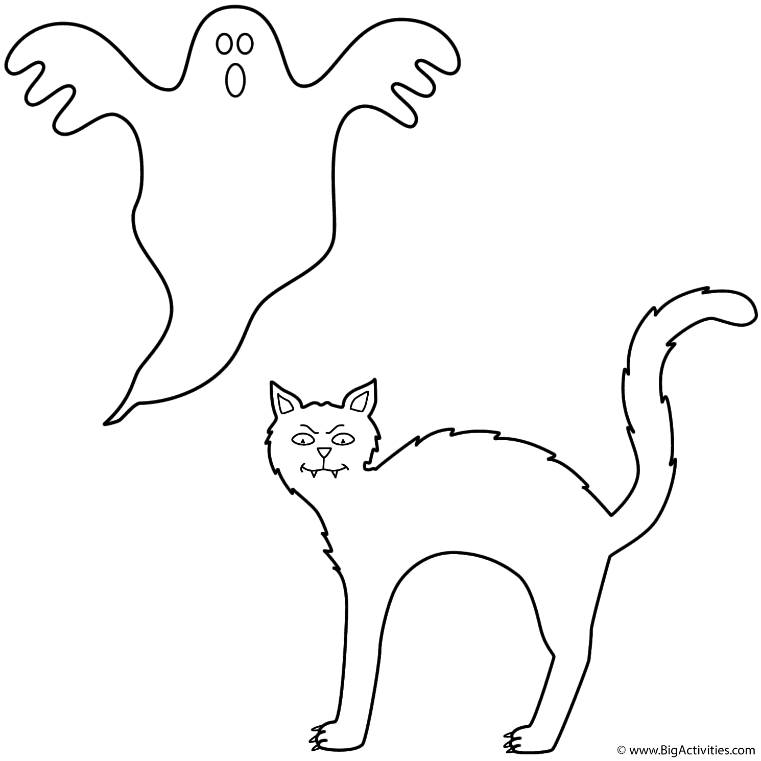 Black cat with ghost Coloring Page Halloween