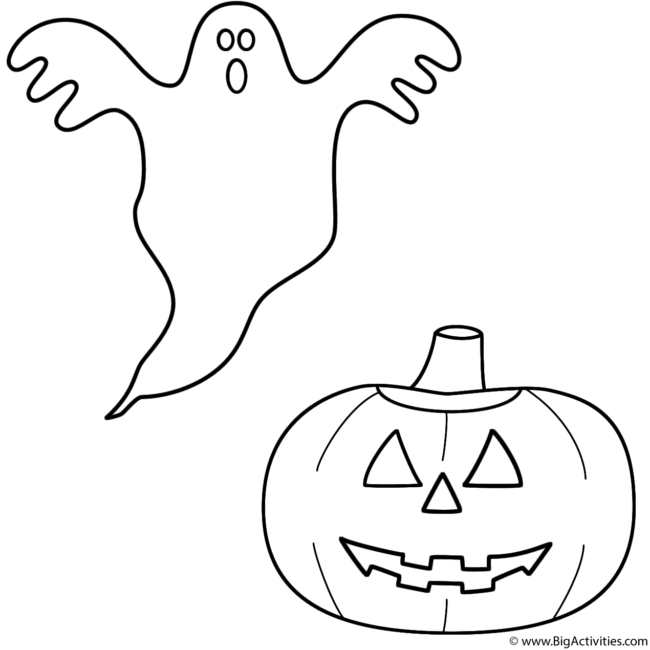 Ghost with pumpkinjackolantern Coloring Page Halloween