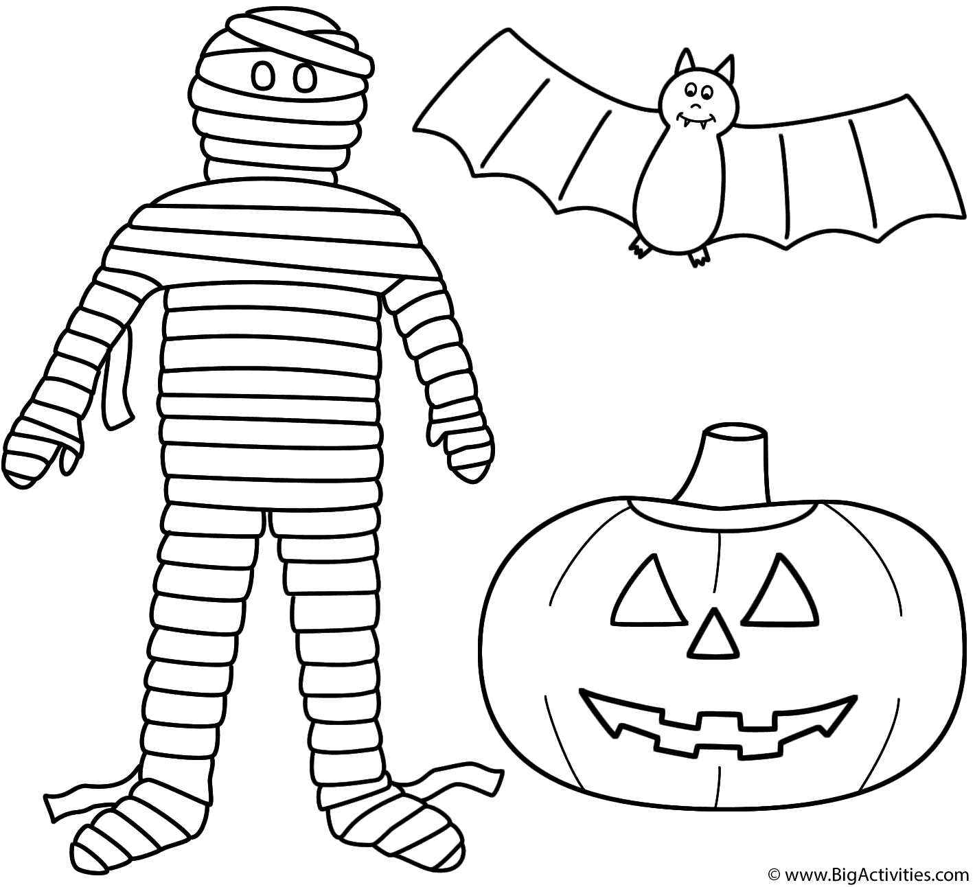 Mummy with pumpkinjack o lantern and bat Coloring Page Halloween