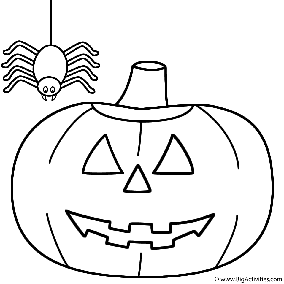 PumpkinJack o Lantern with spider Coloring Page Halloween