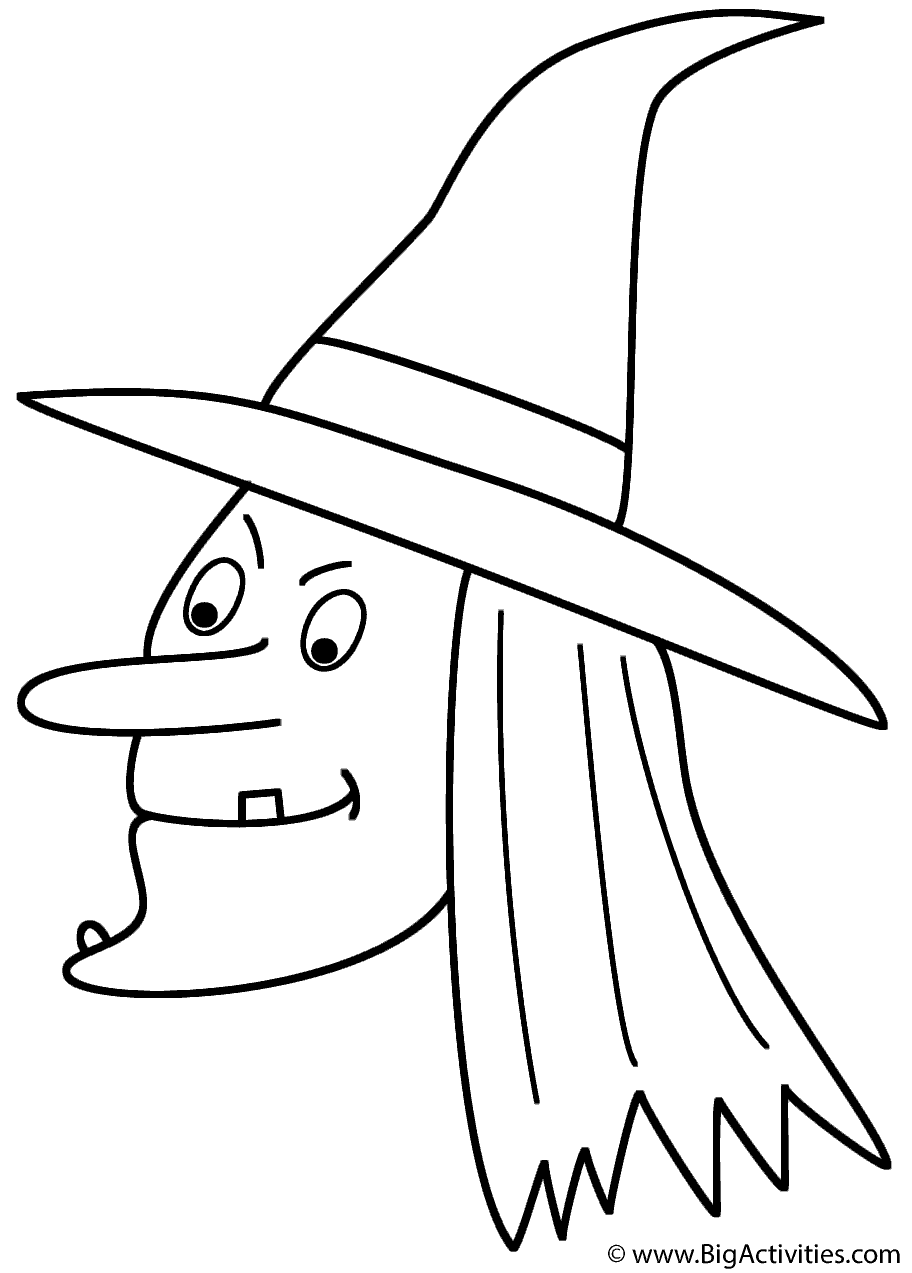 Witch face coloring page halloween for Coloring pages of witches