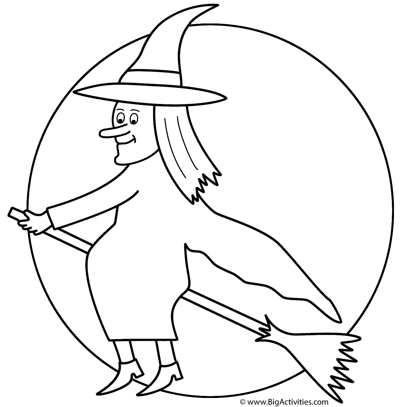 Witch On Broom With The Moon