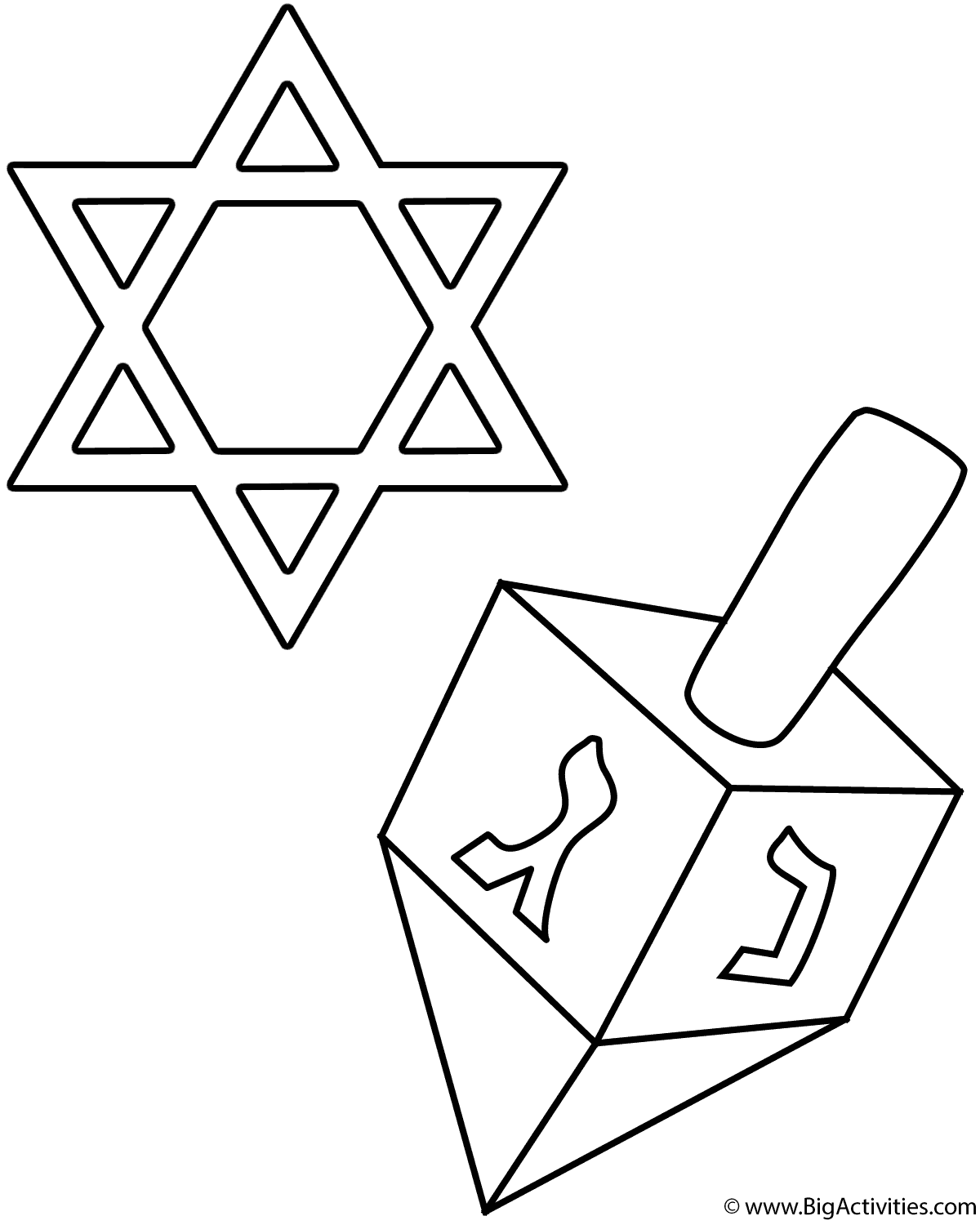 dreidel and star of david coloring page hanukkah. Black Bedroom Furniture Sets. Home Design Ideas