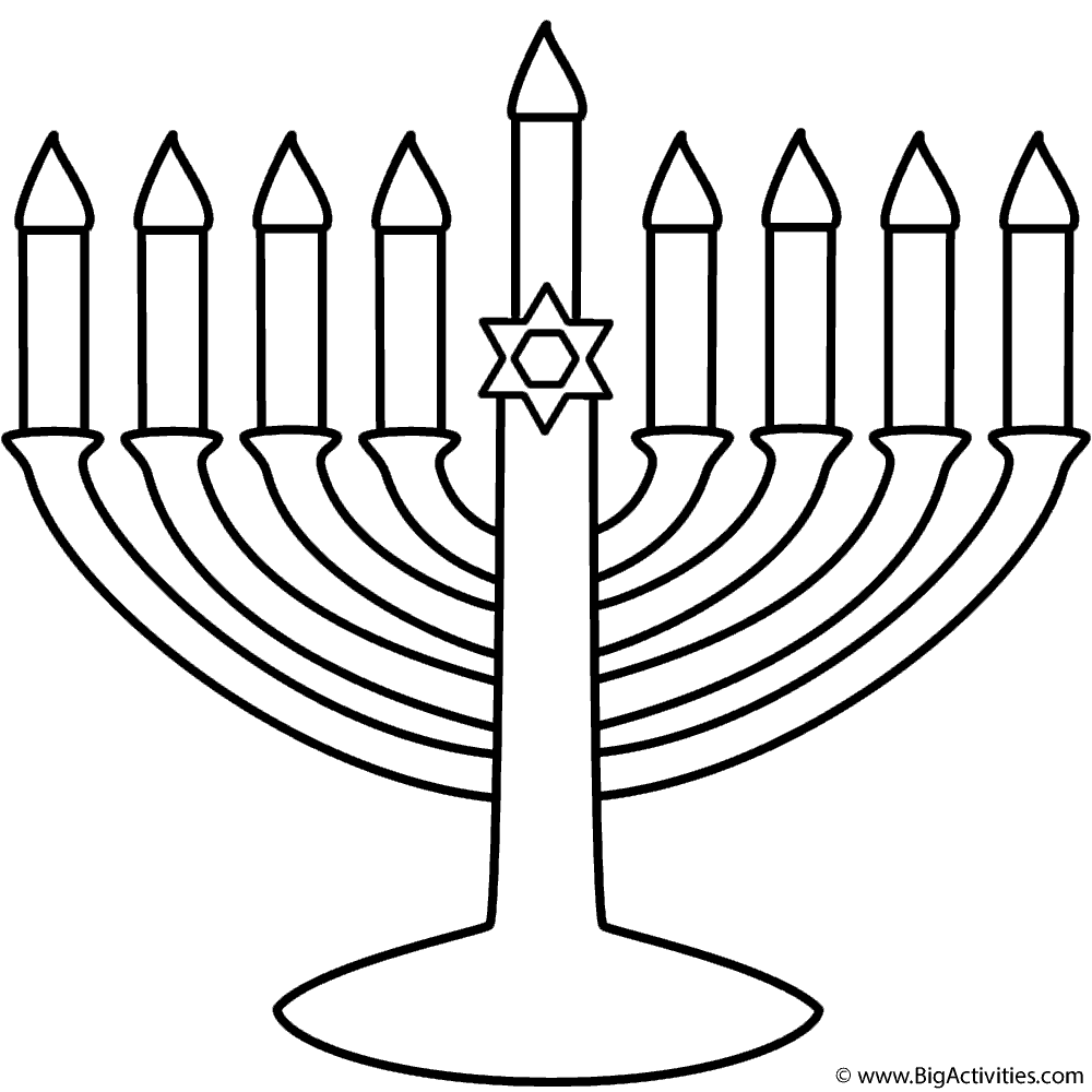 Menorah with Happy Hanukkah - Coloring Page (Hanukkah)