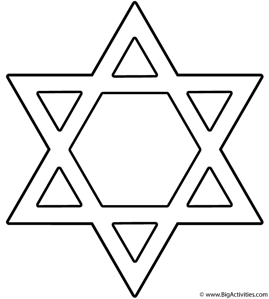 Star Of David Coloring Page Hanukkah