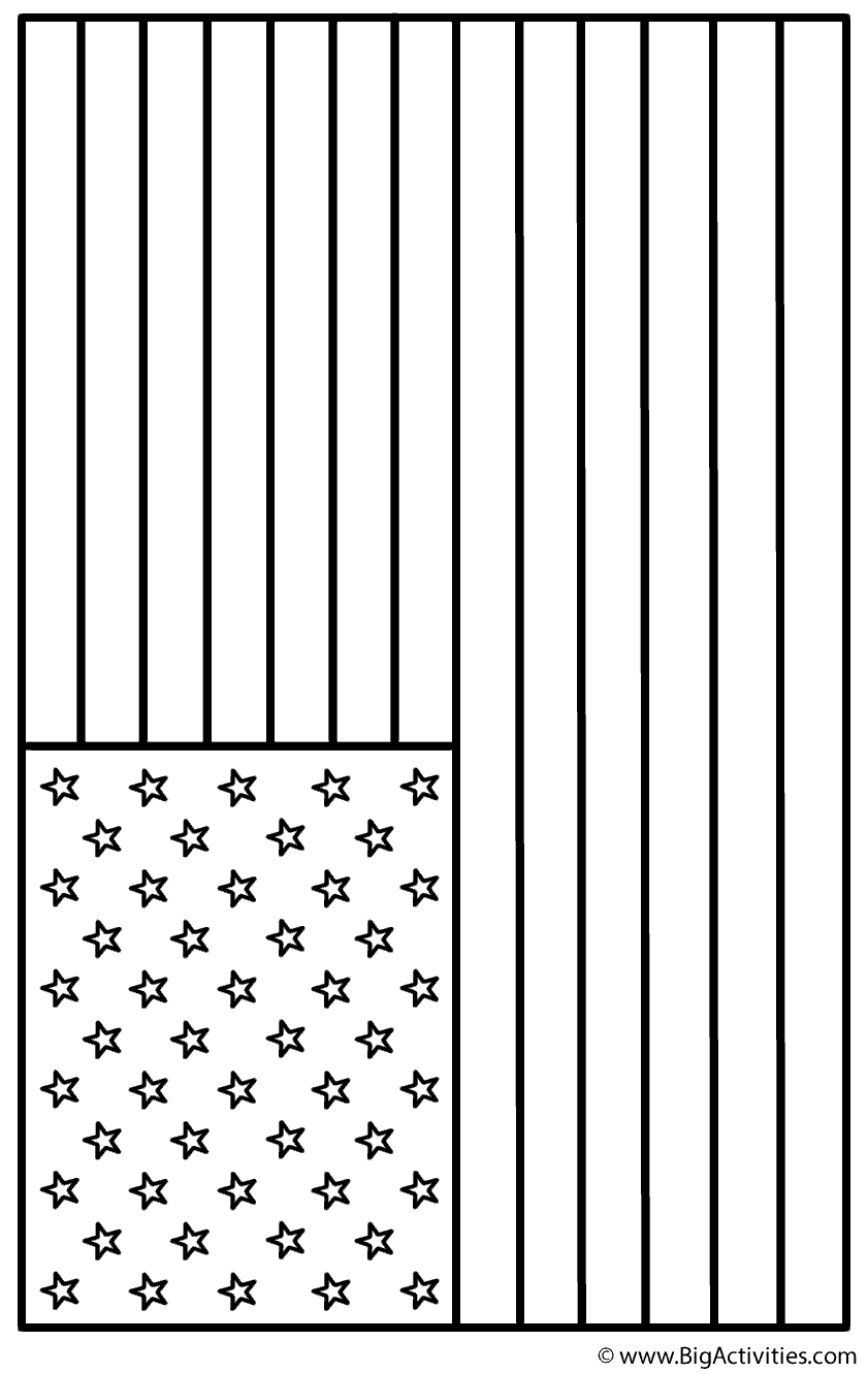 American Flag Landscape Coloring Page Independence Day