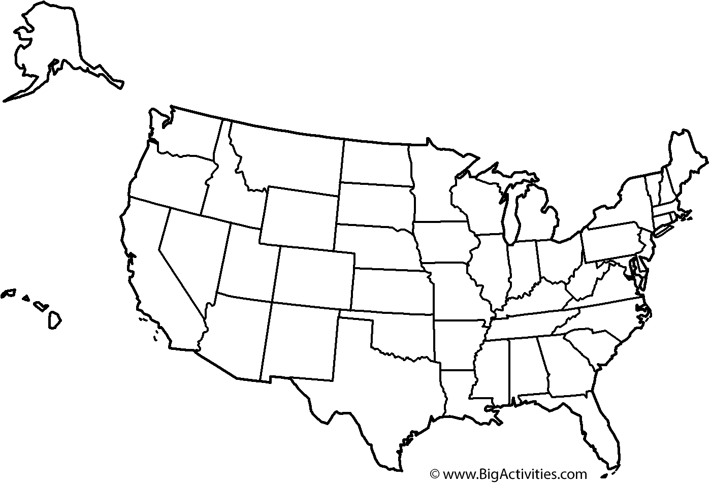 Map of the United States with title and states Coloring Page