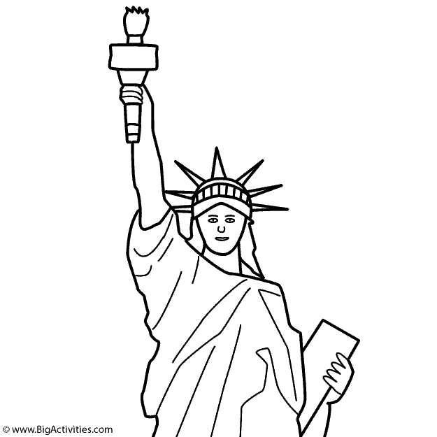 Statue of Liberty top with title Coloring Page Memorial Day