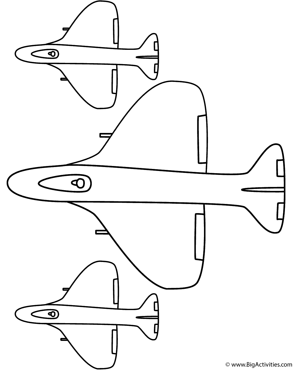 fighter airplane with side planes coloring page military