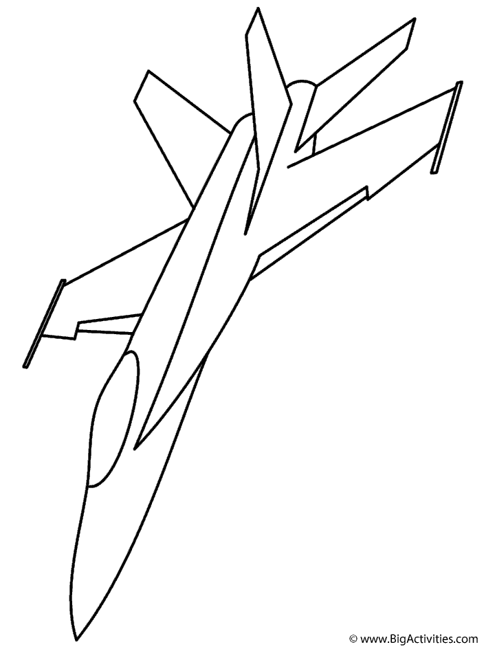 F 18 fighter jet coloring page military